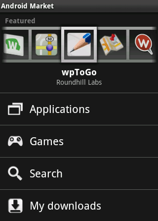 Here's wpToGo in the 'featured' area on Android Market
