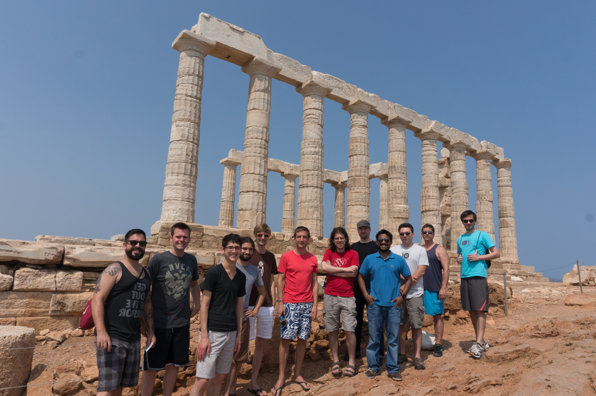 The Mobile Team at the Temple of Poseidon in Greece last year.